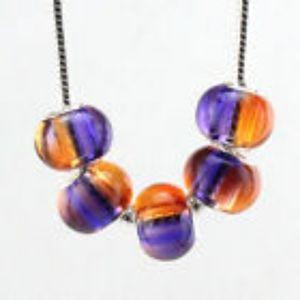 Purple & Orange European Glass Silver Core Beads